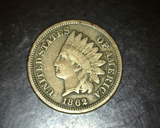 1862 Copper Nickel Indian Head Cent VG