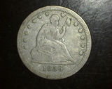 1856 Seated Liberty Quarter No Motto F+