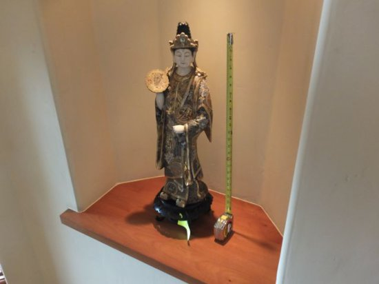 Figurine – Chinese Porcelain Female on Wooden Stand
