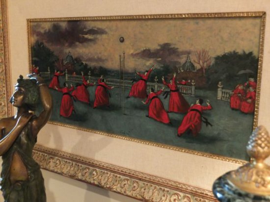 "Nino Caffe – ""Untitled"" 11.75"" x 25.5"" Oil/Panel, Priests in Volley, Framed - Signed lower center"
