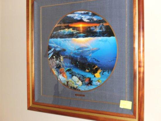 "Christian R. Lassen – ""Untitled"" 18"" x 24"" Florida Marina Scene, Litho-graph - Framed Under Glass w/"