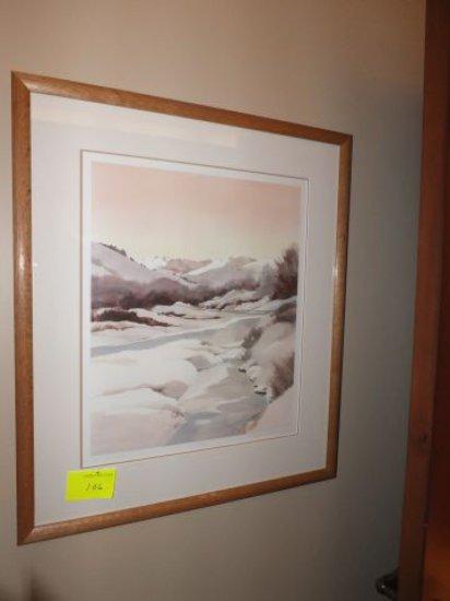 "N. Taylor Stonington –""Wood River Winter"" 16"" x 20"" Print - Framed Under Glass, Signed ""N. Taylor St"