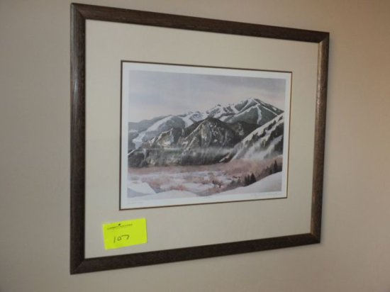 "N. Taylor Stonington –""Saddle View"" 10"" x 14"" Print - Framed Under Glass, Signed ""N. Taylor Stoningt"