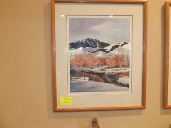 "N. Taylor Stonington –""Warm Springs"" 16"" x 20"" Print – Framed Under Glass, Signed ""N. Taylor Stoning"