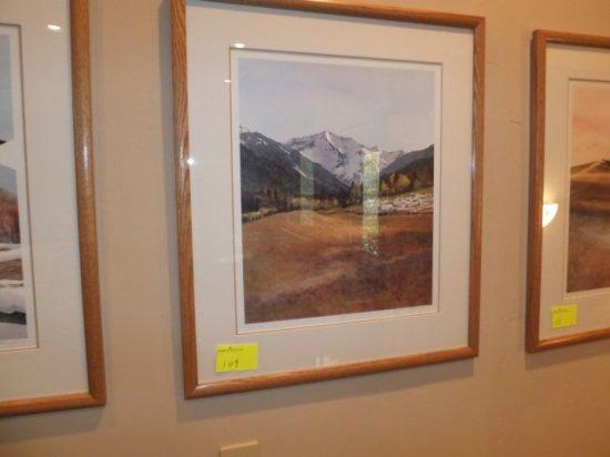 "N. Taylor Stonington Framed, Signed, Print ""Sheep Wagon"" 16""x20"""