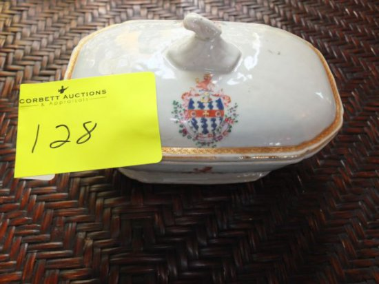 Fine Chinese Export Armorial Porcelain Sauce Tureen & Cover - Handles Shaped as Boars Heads, Chien L