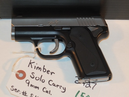 KIMBER SOLO CARRY 9MM WITH BOX AND 3 MAGS S/N  S1142078 **WALDEN HUGHES GUN**, TAG# 2427