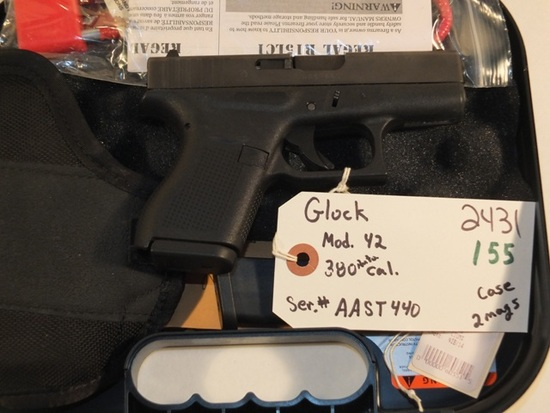 GLOCK 42 .380 WITH BOX AND 2 MAGS  S/N AAST440 **WALDEN HUGHES GUN**, TAG# 2431