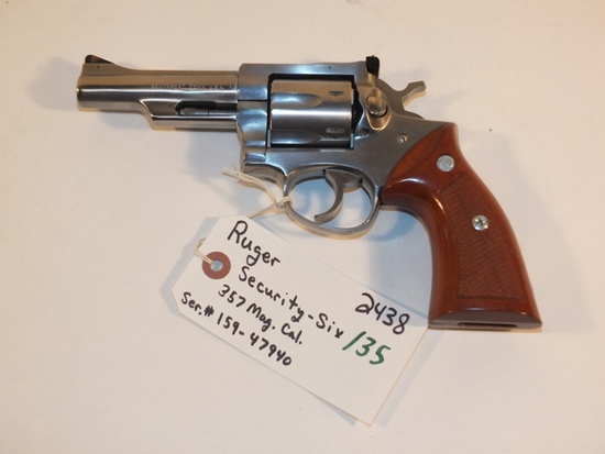 RUGER SECURITY SIX 357 MAG   S/N 159-47940 **WALDEN HUGHES GUN**, TAG# 2438