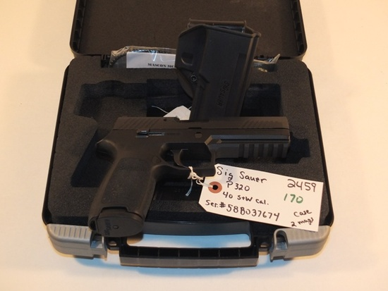 SIG SAUER P320 40 SW WITH BOX AND 2 MAGS  S/N 58B037674, TAG# 2459