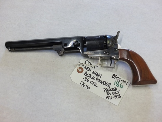 COLT 2ND GEN NAVY BLACKPOWER .36 CAL PRODUCED BY COLT 1971-1978 S/N 17616, TAG# BP01-HV