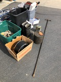 TOOL GROUP: GRINDER, STOP SIGNS, BOOTS, PLUGS, WATER KEY, SAFETY GLASSES