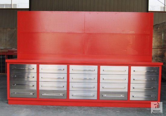 Unused 10FT 20 Drawer Heavy Duty Metal Work Bench with hanging peg board [Yard 1: Odessa, TX]