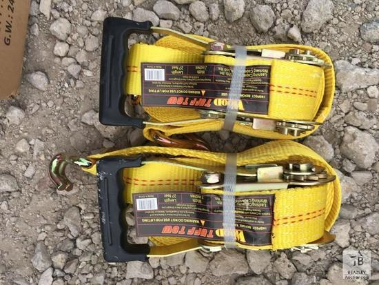 "Unused (2) 2"" X 27' 10,000 Lb Ratchet Tie Down Flat Hook"