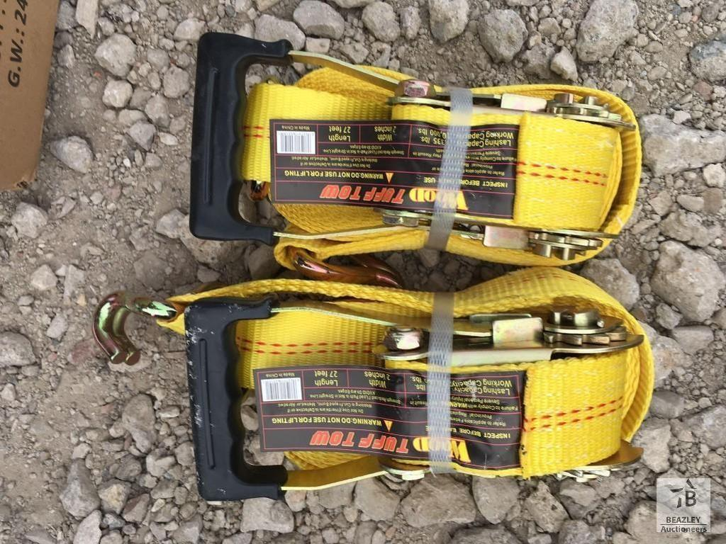 "Unused (2) 2"" X 27' 10,000 Lb Ratchet Tie Down Flat Hook"