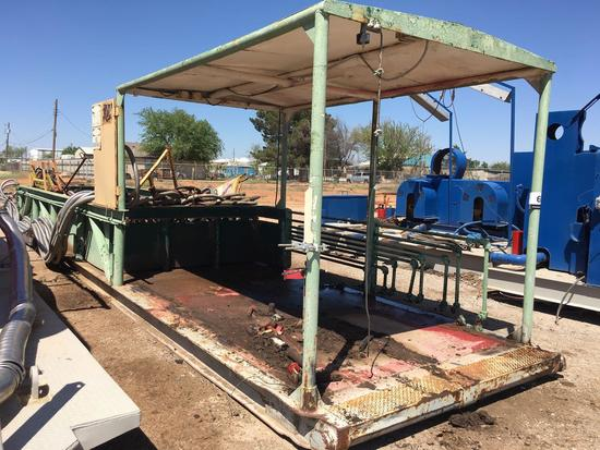 8 ft W x 3 ft H x 25 ft Covered Oilfield Skid w/ Junk Box Extension