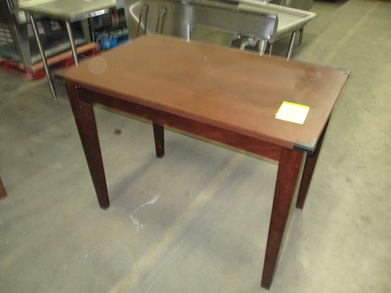 Marco Wooden Table with Metal Corner Protectors