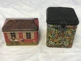 Lot of 2 Vintage Tins-School House & Flowers
