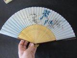 Silver-Blue Japanese Folding Pocket Fan