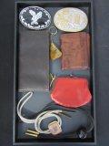 Tray Lot of Belt Buckles, Wallets, etc.