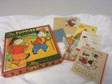 Lot of vintage puzzles, cards, ephemera
