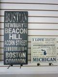 Decorative Boston & Michigan Wall Signs