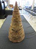 Cone-Shaped Woven Grape Vine Christmas Tree