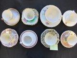 Lot of 8 Fine China Teacups & Saucers
