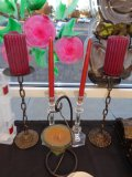 Lot of 5 Candle Holders with Candles