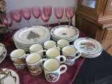 Complete 4 place+ setting holiday dishes & glasses