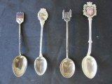4 Vintage Collectible Travel Souvenir Spoons
