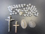 Lot of 3 Catholic pendants and a rosary