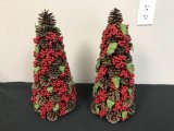 Lot of 2 Berry Cone Christmas Trees