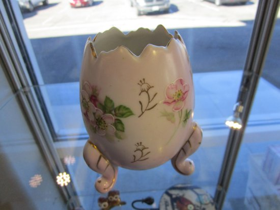 Vintage Hand Painted Porcelain Egg with Legs