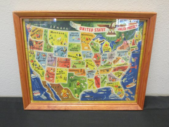 Framed Vintage Puzzle of the USA