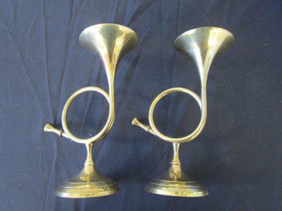 Pair Bugle Horn Shape Brass Candle Holders Brass