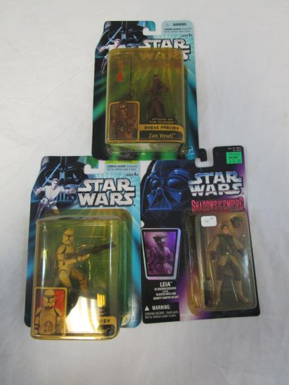 3, Early 2000's Star Wars Action Figures Liea
