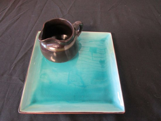 Glazed Turquoise Plate & Brown Pitcher