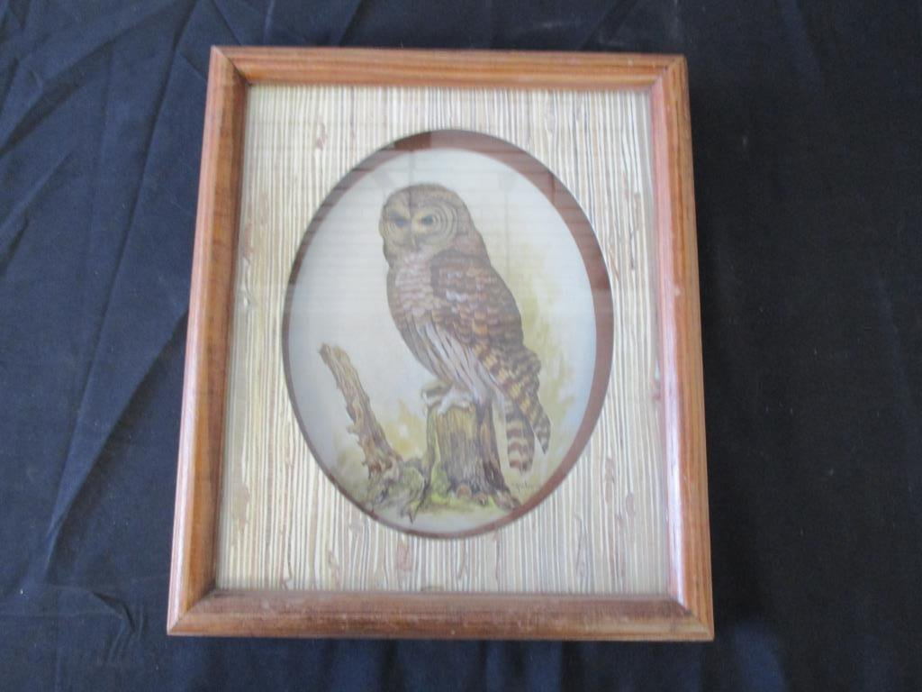 """Vintage Wise Old Owl Print By E. Rambow 13"""" x 12"""""""
