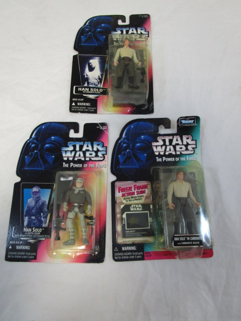 3, Late 90's Star Wars Han Solo Action Figures