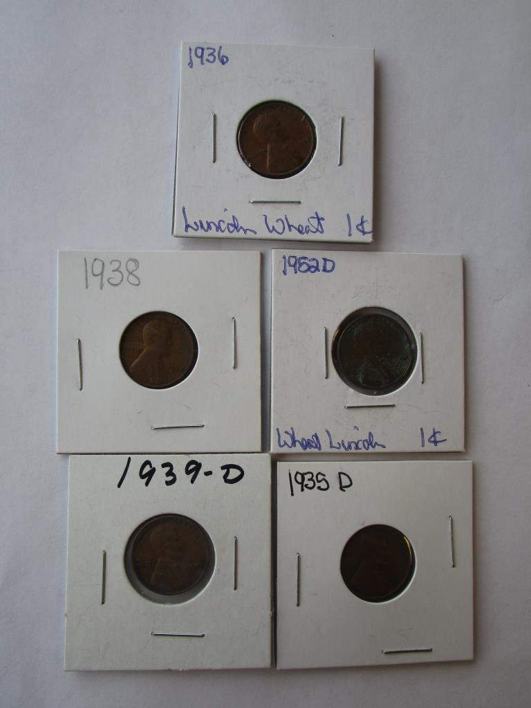 Lot: 5 Wheat Pennies 1935D, 1936, 1938,1939D & 1952D | Proxibid Auctions