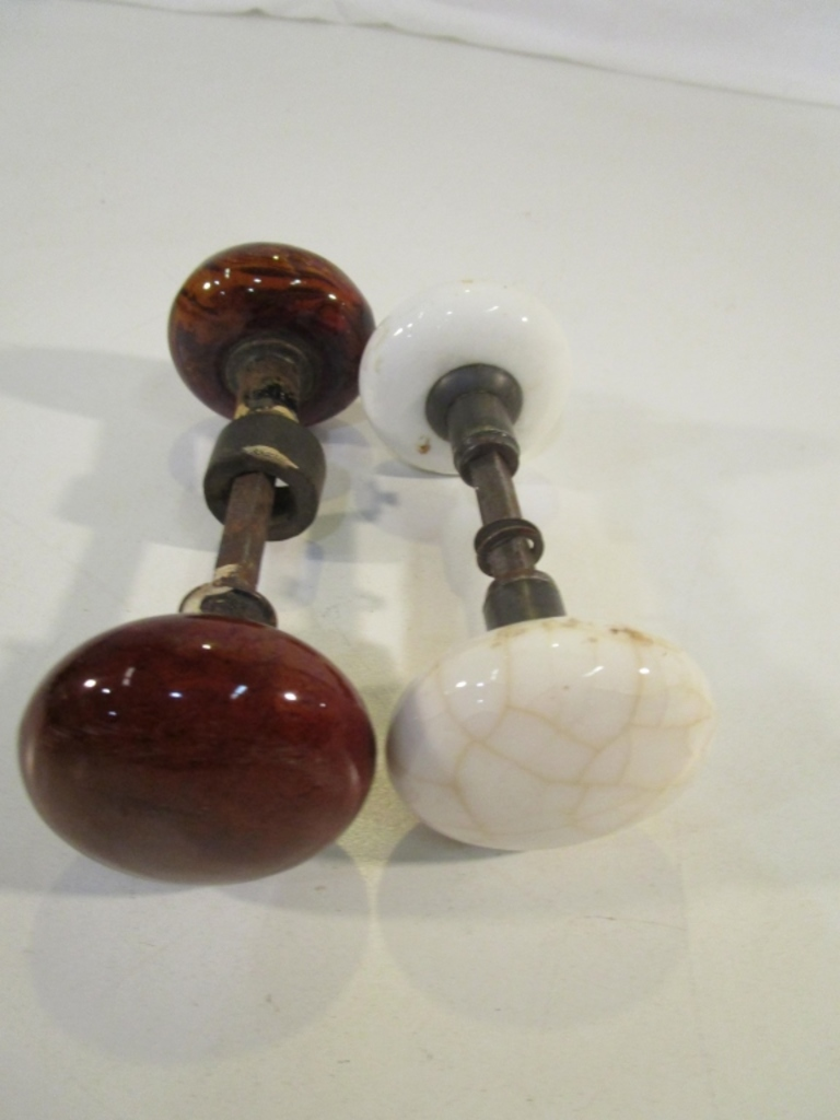 Lot Of 2 Vintage Marble Door Knobs