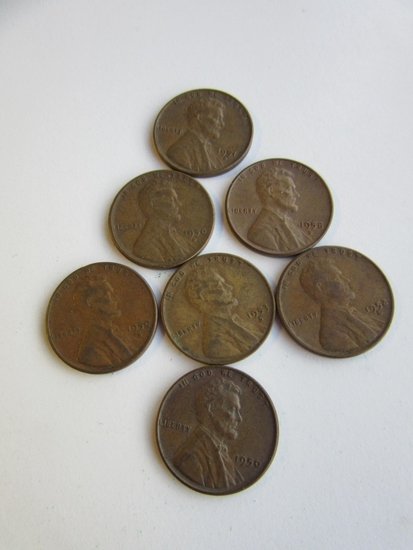 Lot of 7 Wheat Pennies 1951D,1950,1958D,1950D,