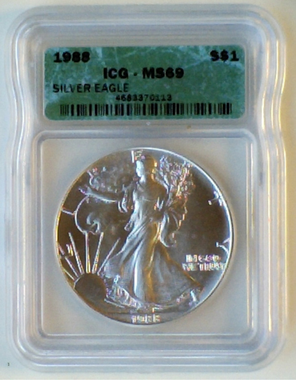Graded 1988 1 Oz .999 Silver Eagle ICG MS69