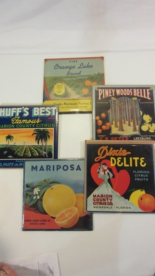 Lot of 5 Fruit Crate Labels