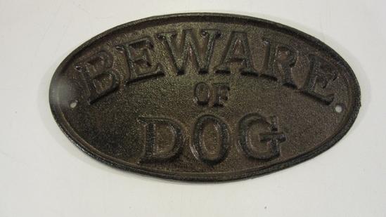"""Metal """"Beware of Dog"""" Sign"""