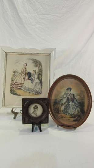 Lot of 3 Antique Themed Ladies Pictures