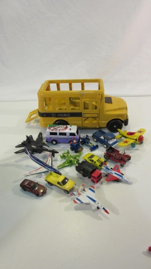 Play School Bus with Lot of Small Transportation