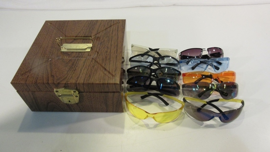 Lot of 10 Sunglasses/ Safety Glass in Metal Box
