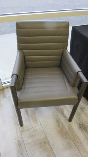 Wood and Leather Like Arm Chair